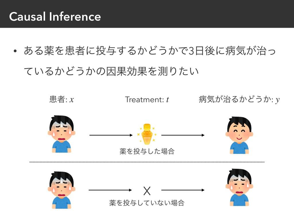 Causal Inference • ͋ΔༀΛױऀʹ༩͢Δ͔Ͳ͏͔Ͱ3ޙʹපؾ͕ͬ ͍ͯ...