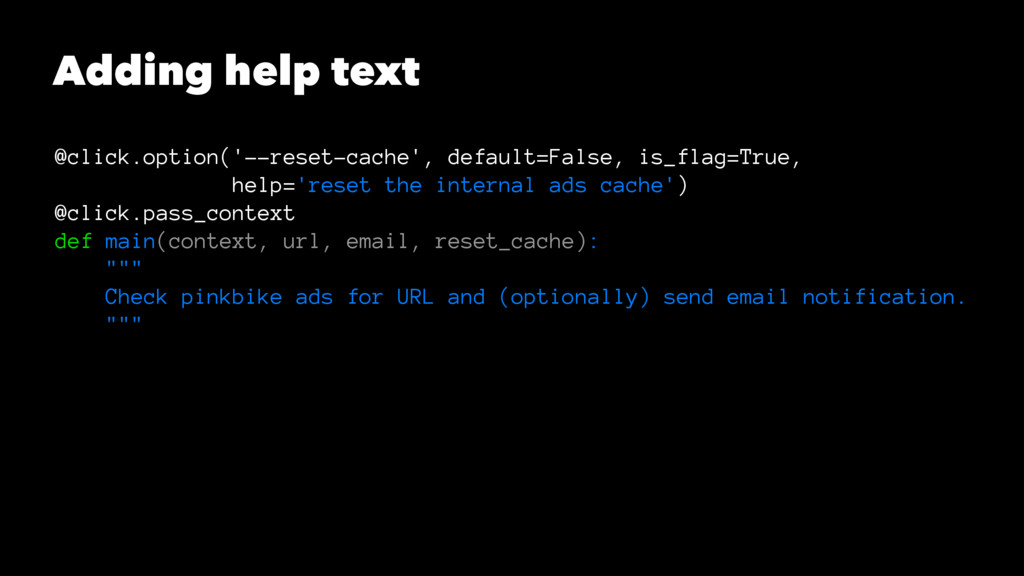 Adding help text @click.option('--reset-cache',...