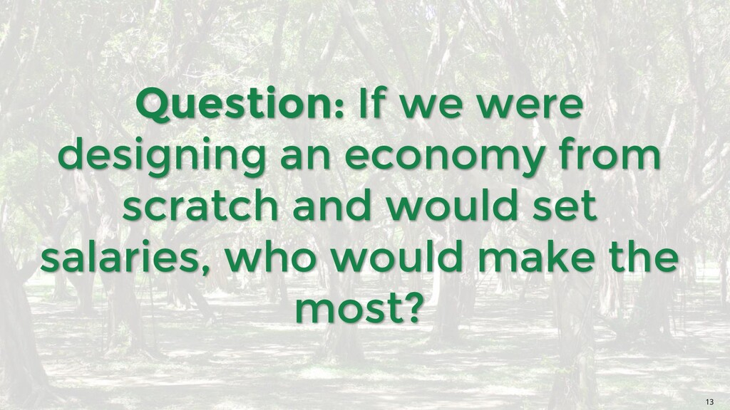 Question: If we were designing an economy from ...