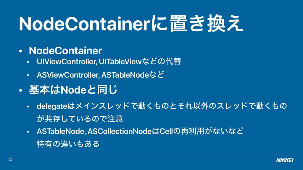 25 NodeContainerʹஔ͖׵͑ • NodeContainer • UIViewC...