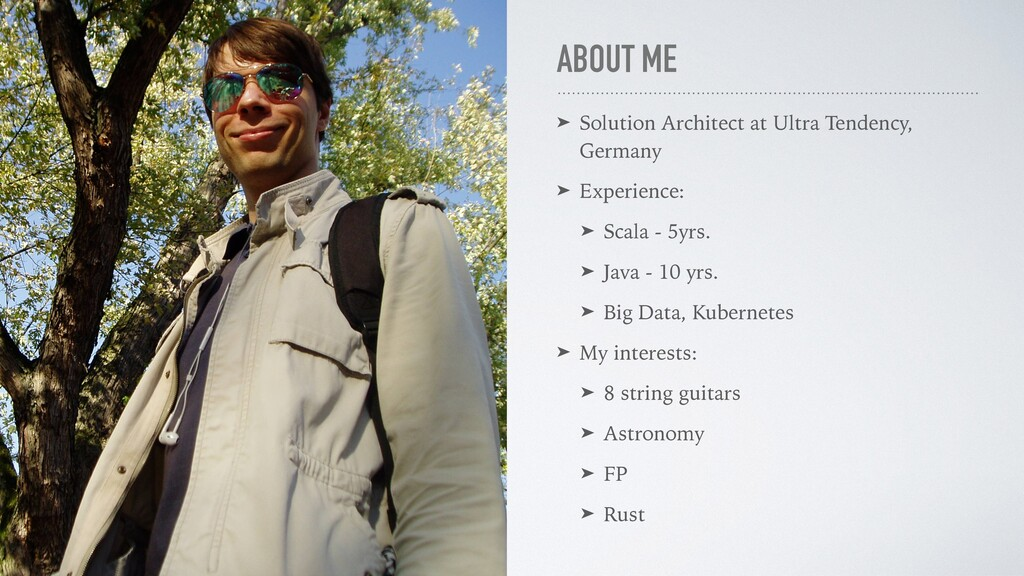 ABOUT ME ➤ Solution Architect at Ultra Tendency...