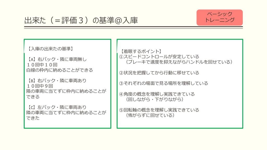 出来た(=評価3)の基準@⼊庫 ベーシック トレーニング 【着眼するポイント】 ①スピードコン...