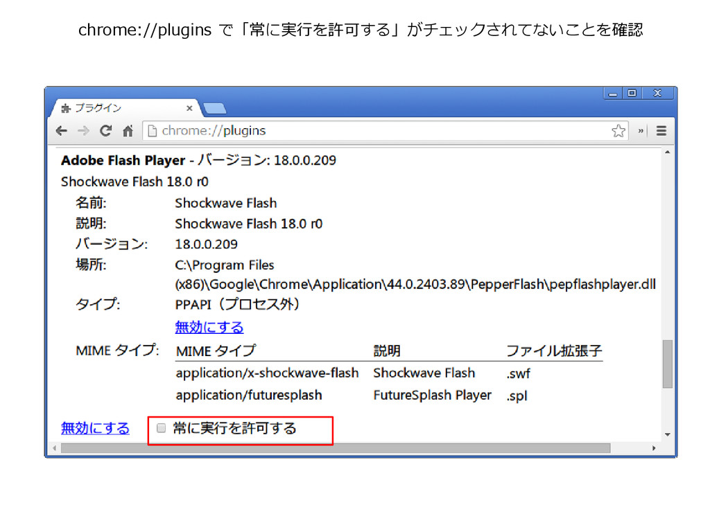 chrome://plugins で「常に実行を許可する」がチェックされてないことを確認
