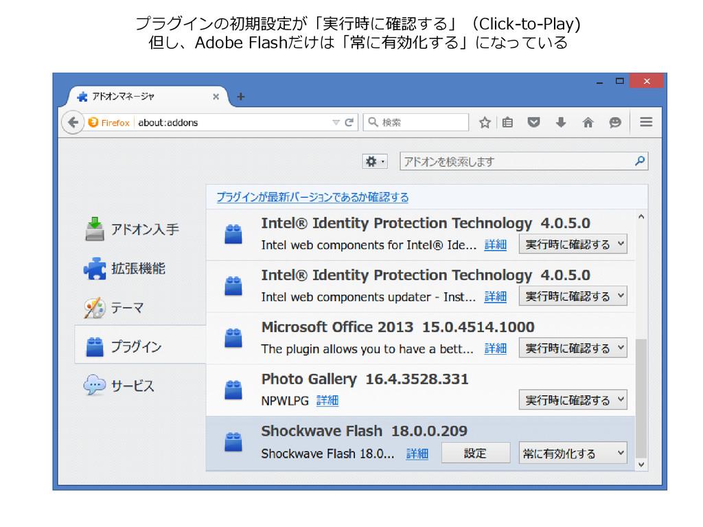 プラグインの初期設定が「実行時に確認する」(Click-to-Play) 但し、Adobe F...