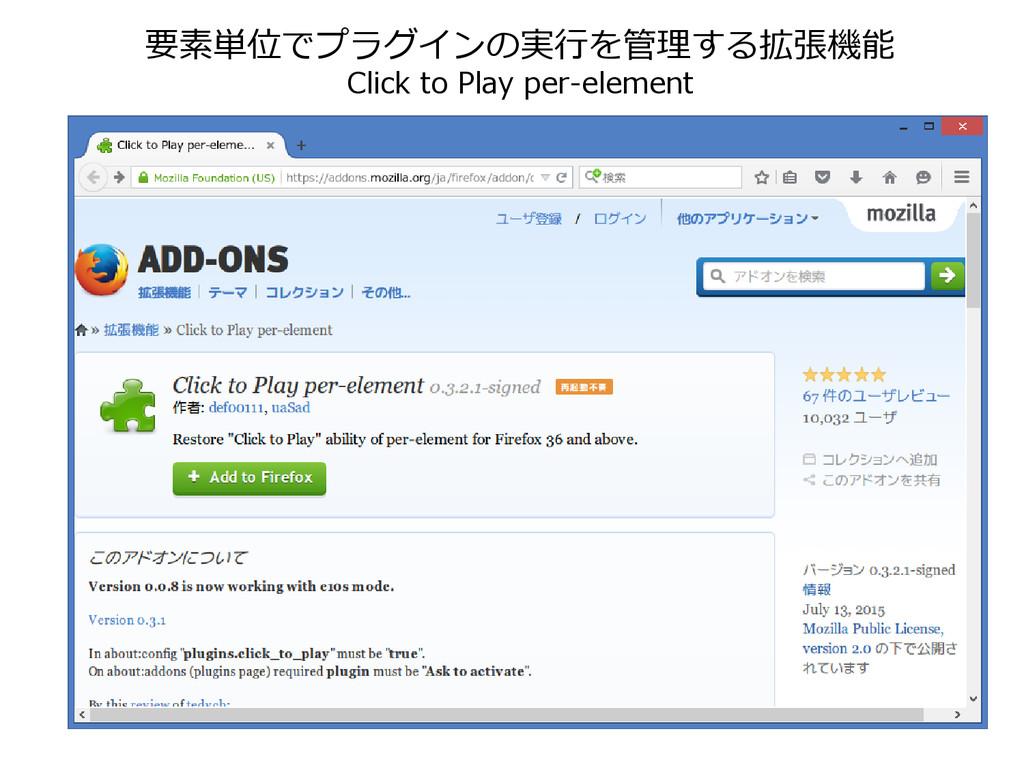 要素単位でプラグインの実行を管理する拡張機能 Click to Play per-element