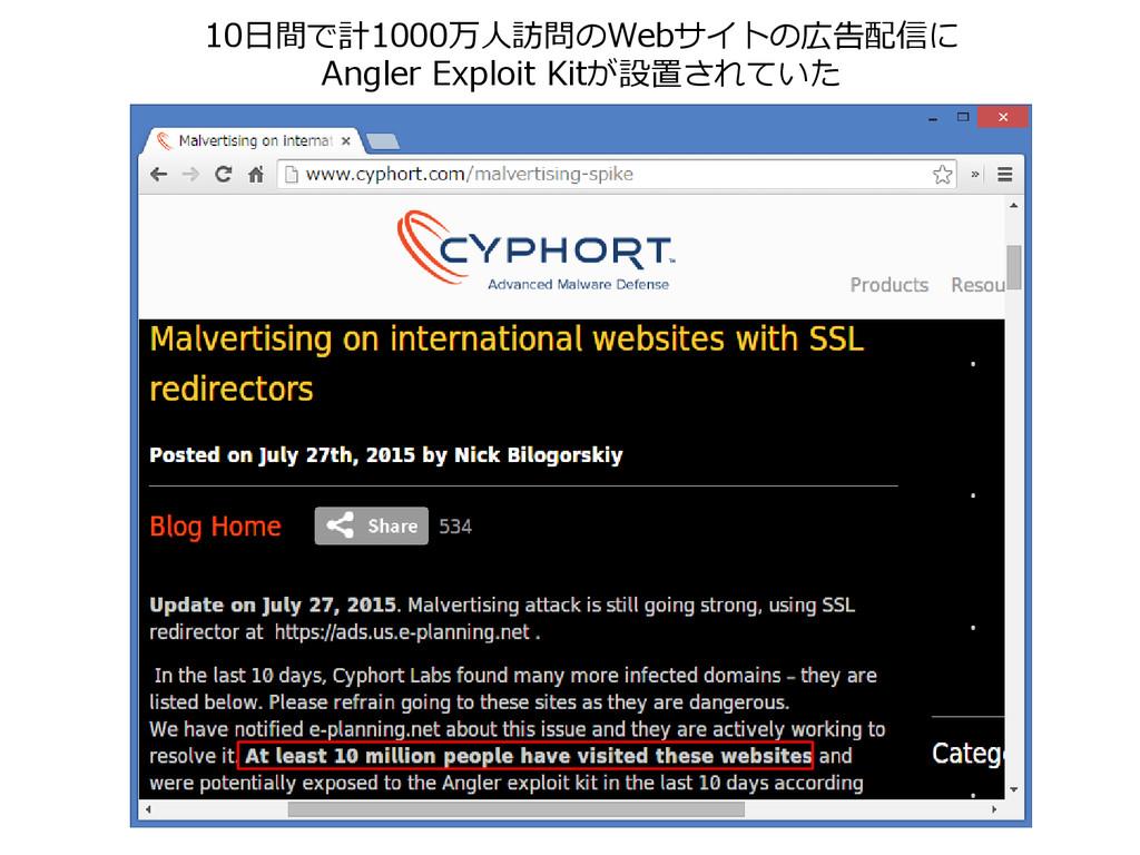 10日間で計1000万人訪問のWebサイトの広告配信に Angler Exploit Kitが...