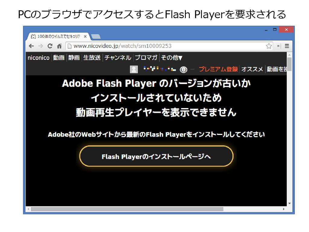 PCのブラウザでアクセスするとFlash Playerを要求される