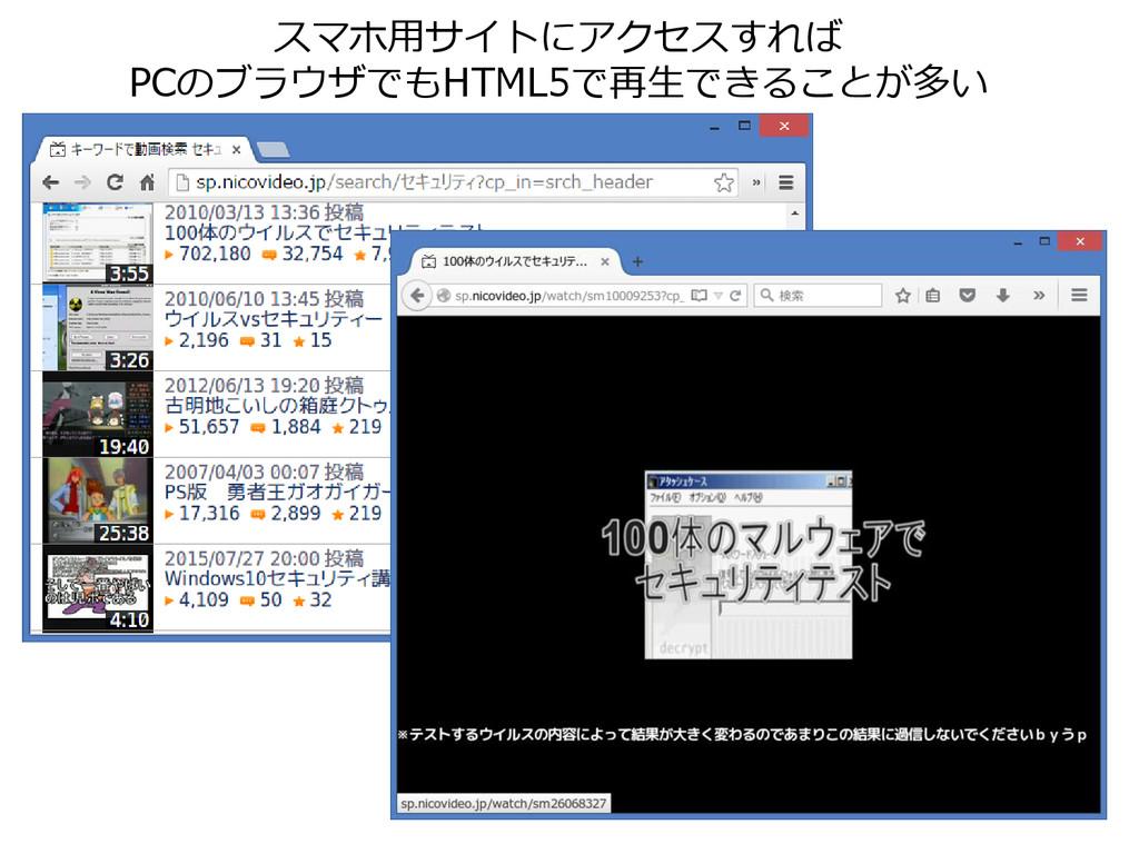 スマホ用サイトにアクセスすれば PCのブラウザでもHTML5で再生できることが多い