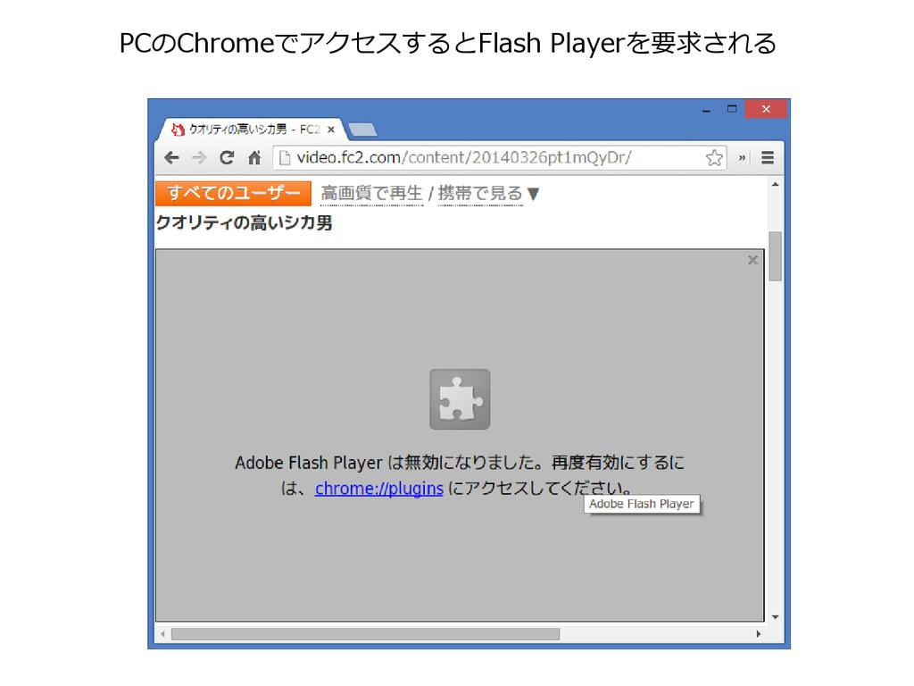 PCのChromeでアクセスするとFlash Playerを要求される