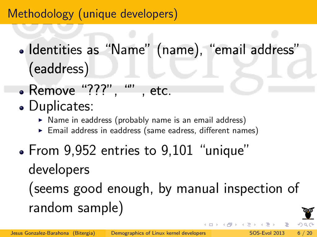 "Methodology (unique developers) Identities as ""..."
