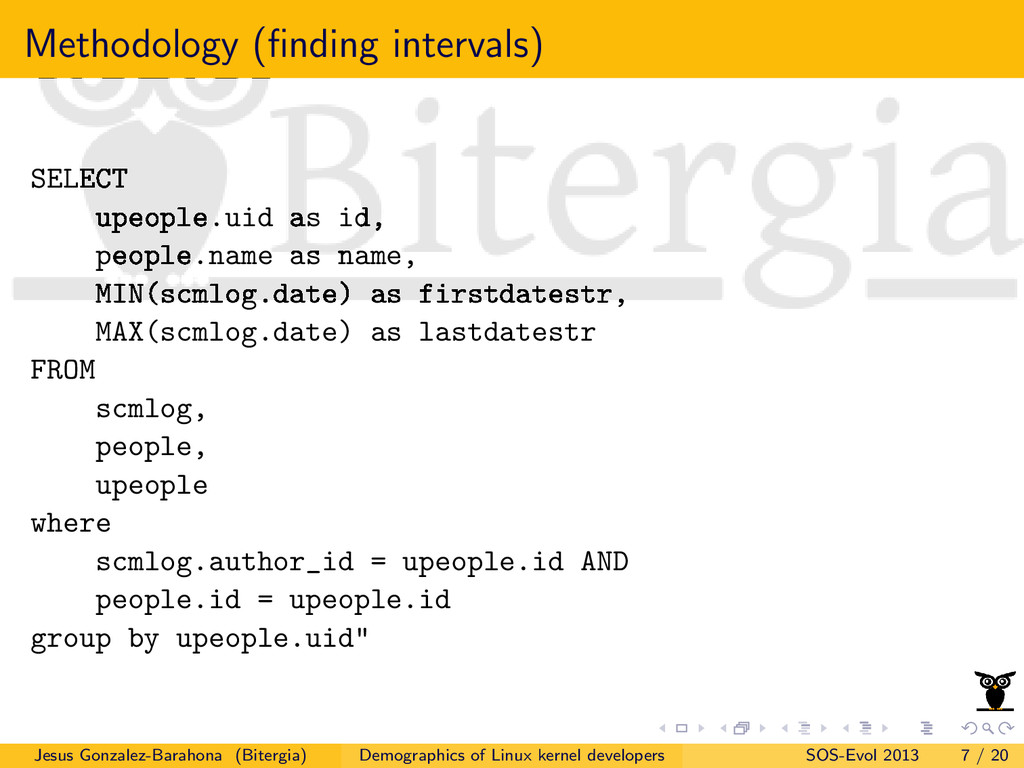 Methodology (finding intervals) SELECT upeople.u...