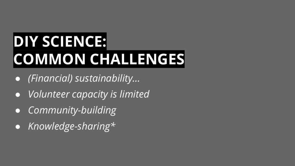 DIY SCIENCE: COMMON CHALLENGES ● (Financial) su...