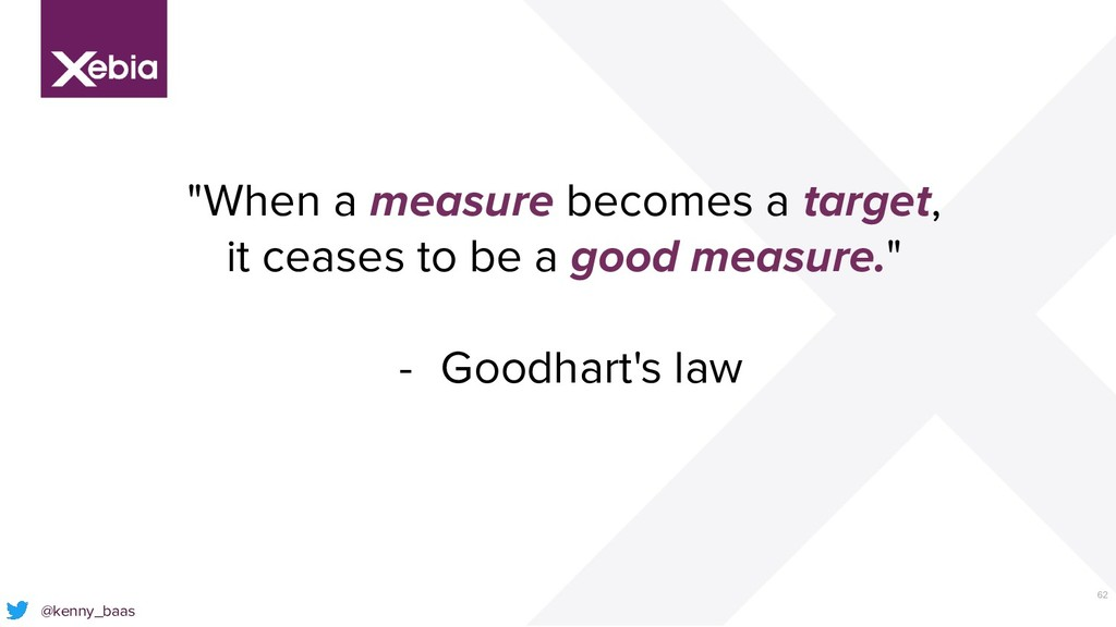 """62 @kenny_baas """"When a measure becomes a target..."""