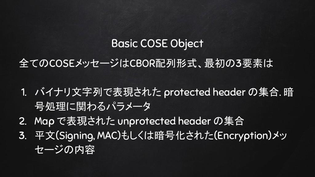 Basic COSE Object 全てのCOSEメッセージはCBOR配列形式、最初の3要素は...