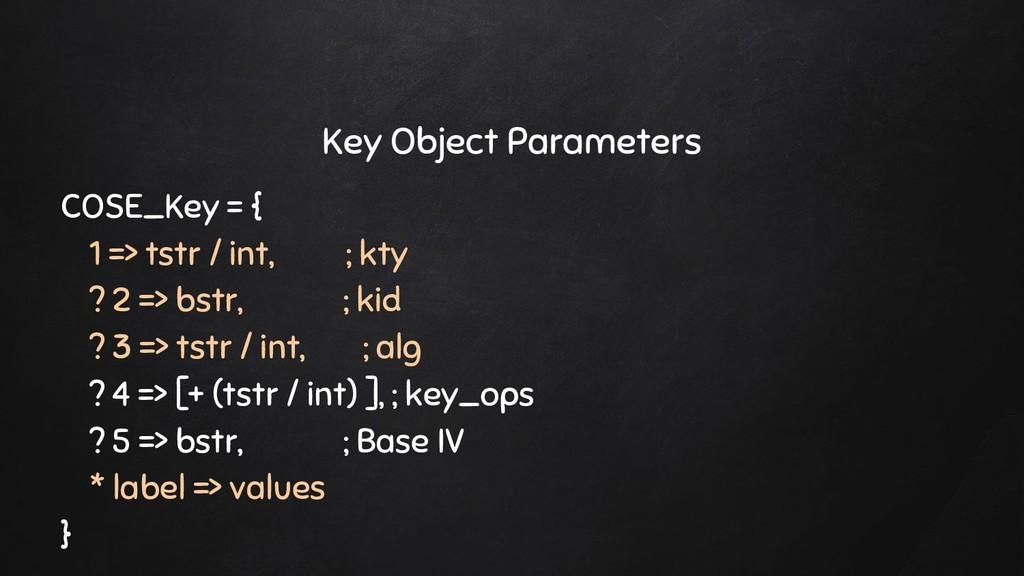 Key Object Parameters COSE_Key = { 1 => tstr / ...