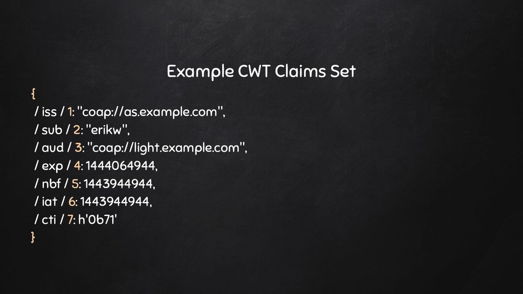 """Example CWT Claims Set { / iss / 1: """"coap://as...."""