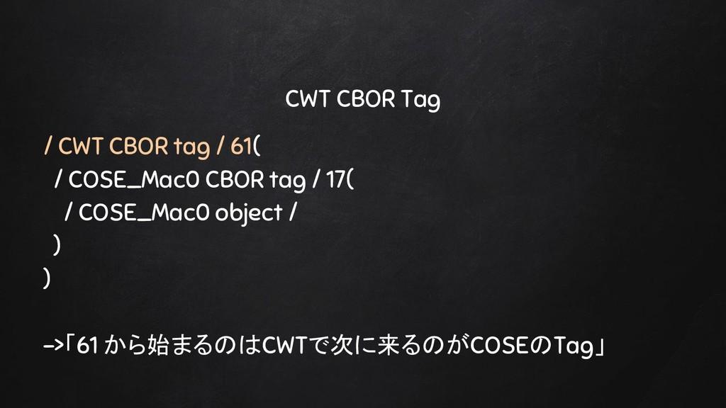 CWT CBOR Tag / CWT CBOR tag / 61( / COSE_Mac0 C...