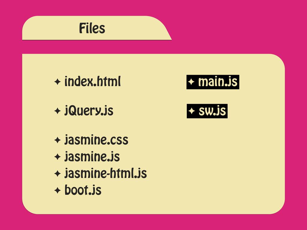 ✦ index.html ✦ jQuery.js ✦ main.js ✦ jasmine.cs...