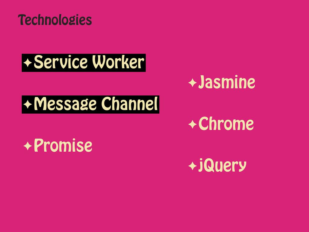 Technologies ✦Service Worker ✦Jasmine ✦Message ...