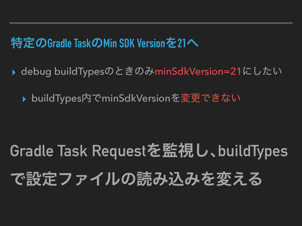 ಛఆͷGradle TaskͷMin SDK VersionΛ21 ▸ debug buil...