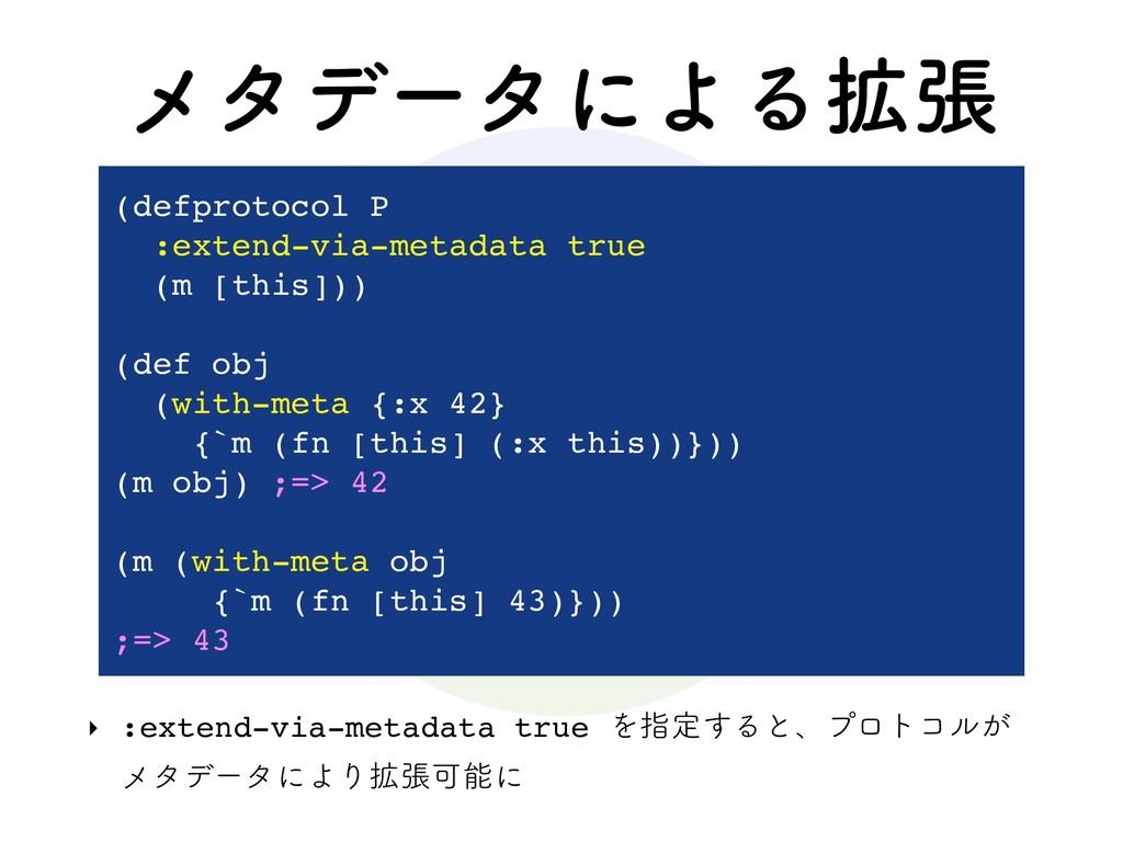 ϝλσʔλʹΑΔ֦ு ‣ :extend-via-metadata true Λࢦఆ͢Δͱɺϓ...