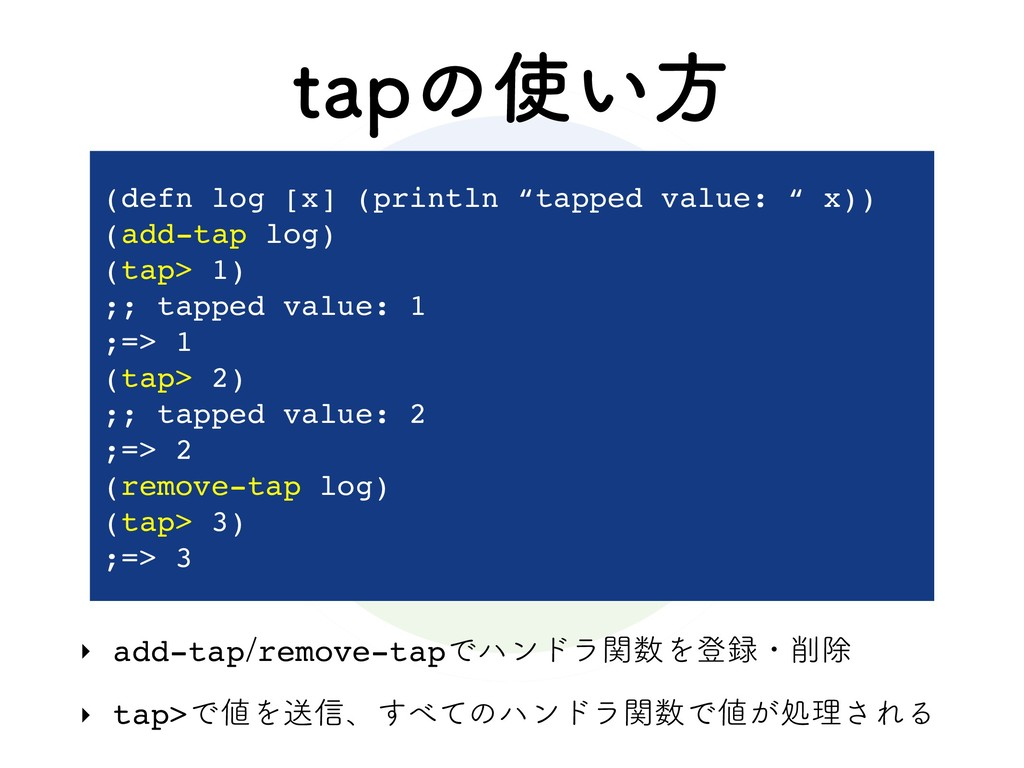 UBQͷ࢖͍ํ ‣ add-tapremove-tapͰϋϯυϥؔ਺Λొ࿥ɾ࡟আ ‣ ta...