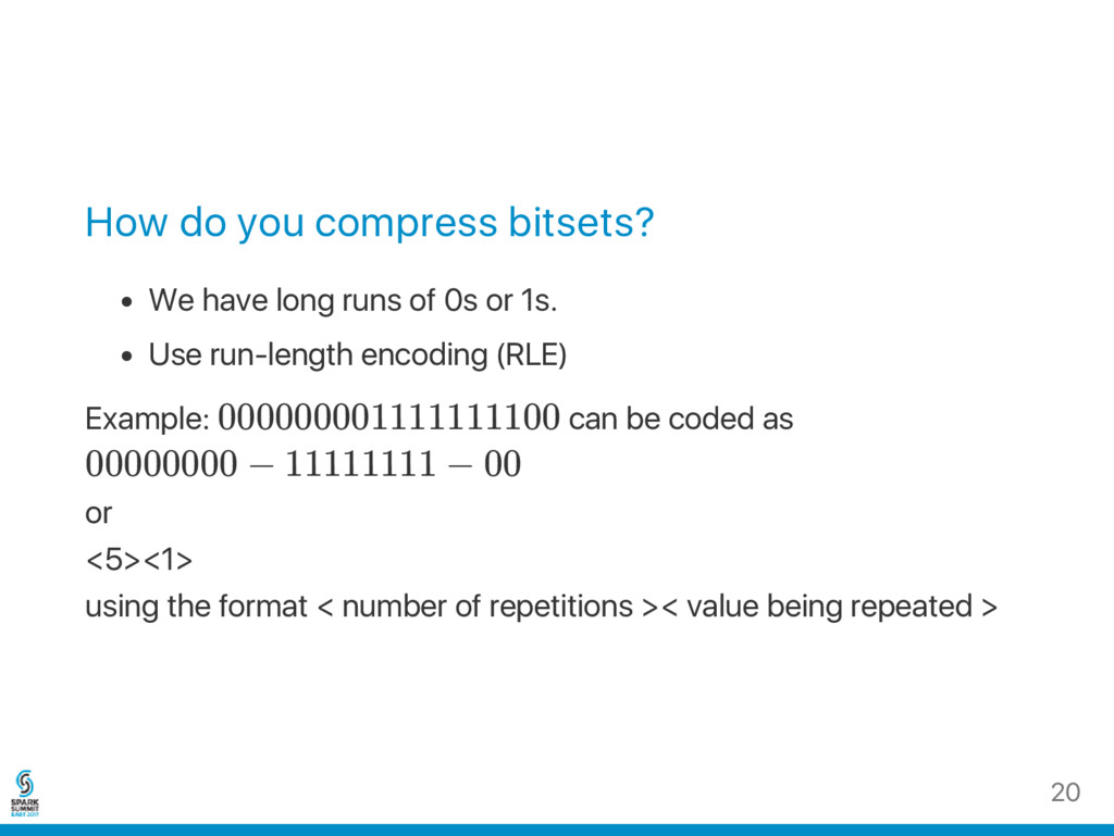 How do you compress bitsets? We have long runs ...