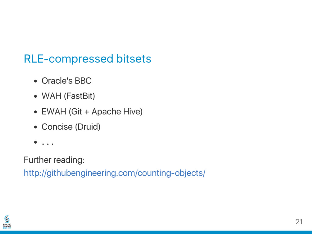 RLE‑compressed bitsets Oracle's BBC WAH (FastBi...