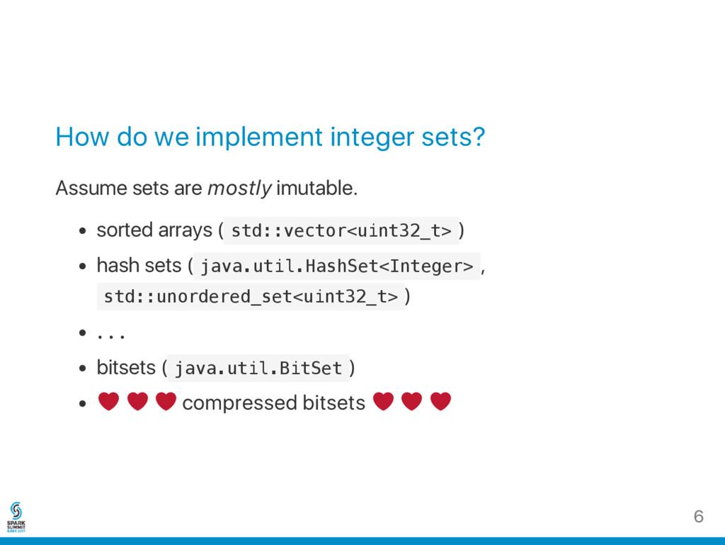How do we implement integer sets? Assume sets a...