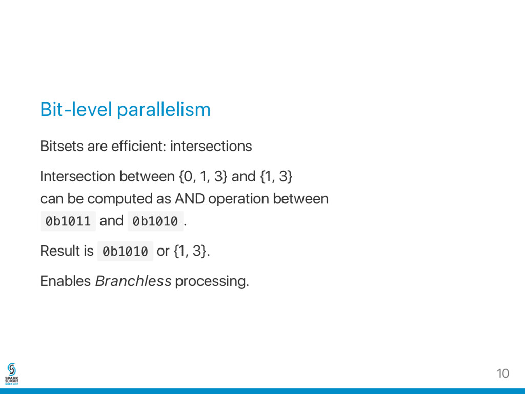 Bit‑level parallelism Bitsets are efficient: in...