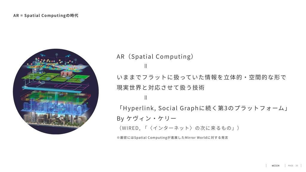PAGE 20 AR = Spatial Computingの時代 AR(Spatial Co...