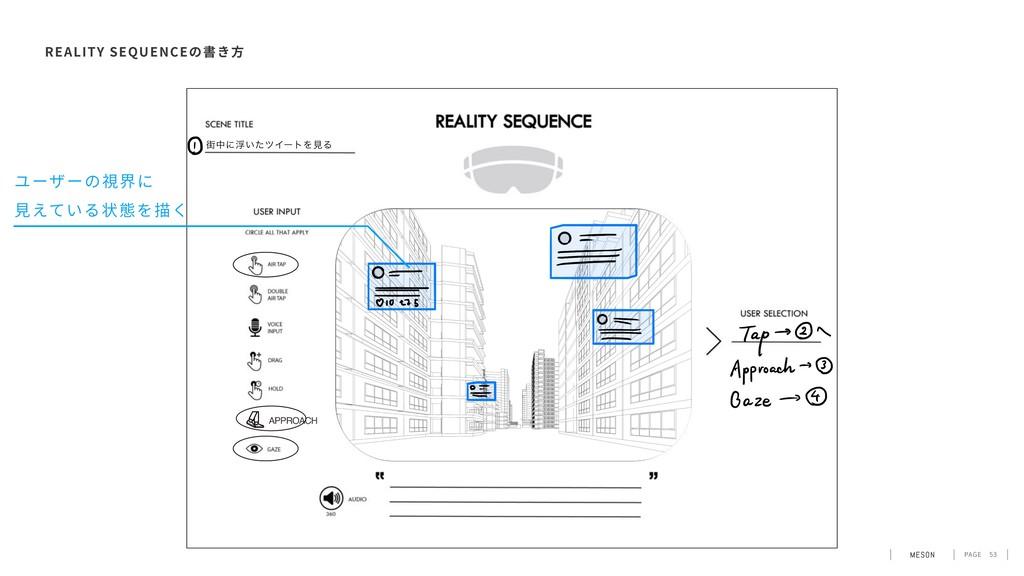 PAGE 53 REALITY SEQUENCE ユーザーの視界に ⾒えている状態を描く
