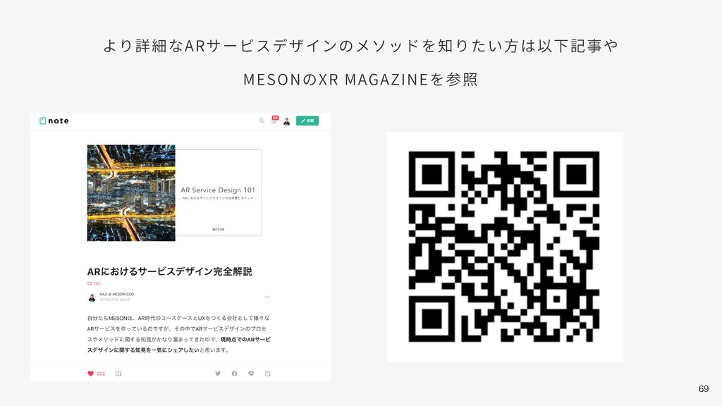 69 より詳細なARサービスデザインのメソッドを知りたい⽅は以下記事や MESONのXR MA...