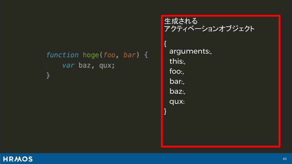 43 生成される アクティベーションオブジェクト { arguments:, this:, f...
