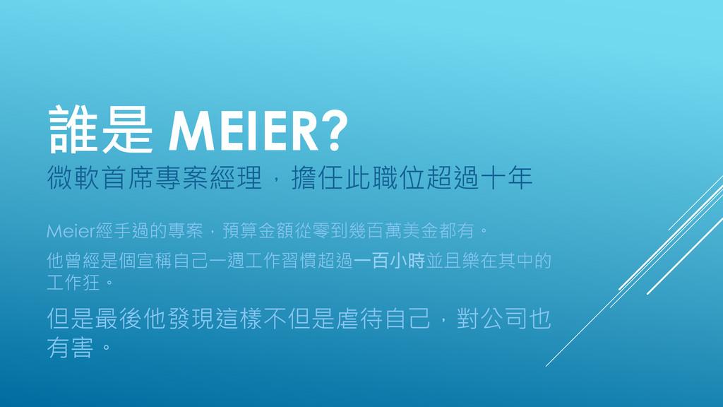 誰是 MEIER? 微軟首席專案經理,擔任此職位超過十年 Meier經手過的專案,預算金額...