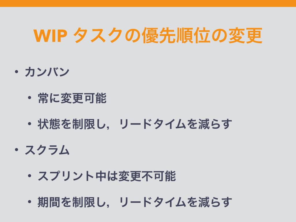 WIP λεΫͷ༏ઌॱҐͷมߋ • Χϯόϯ • ৗʹมߋՄ • ঢ়ଶΛ੍ݶ͠ɼϦʔυλΠϜ...
