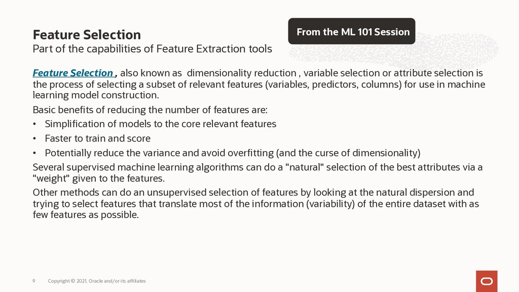 Part of the capabilities of Feature Extraction ...