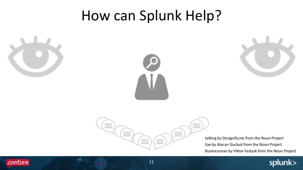 How can Splunk Help? 11 talking by...