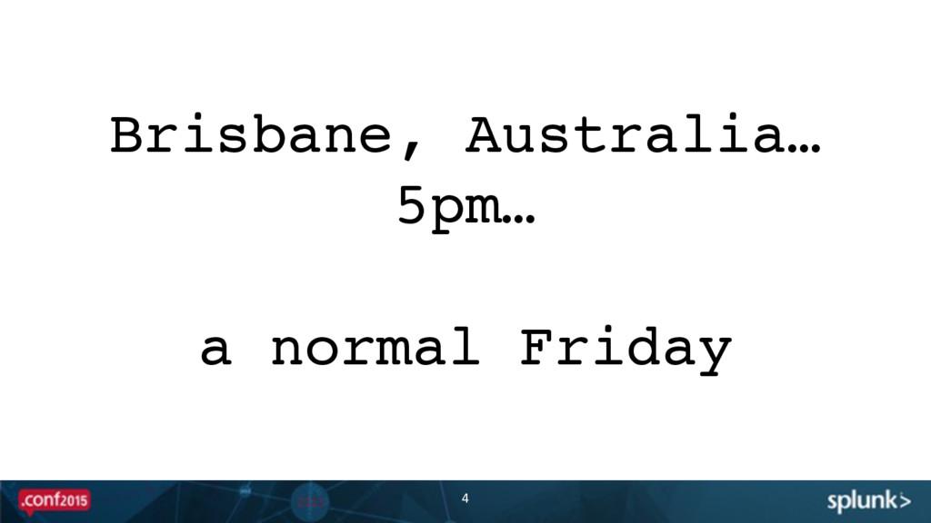 4 Brisbane, Australia… 5pm… a normal Friday