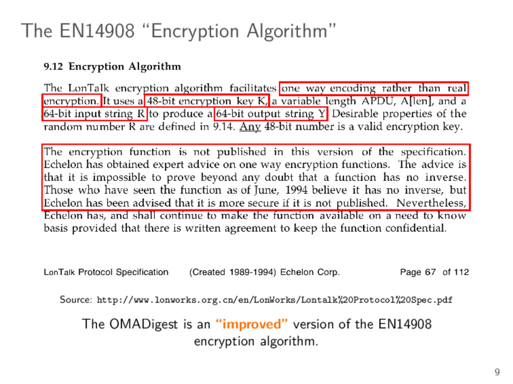 "The EN14908 ""Encryption Algorithm"" Source: http..."
