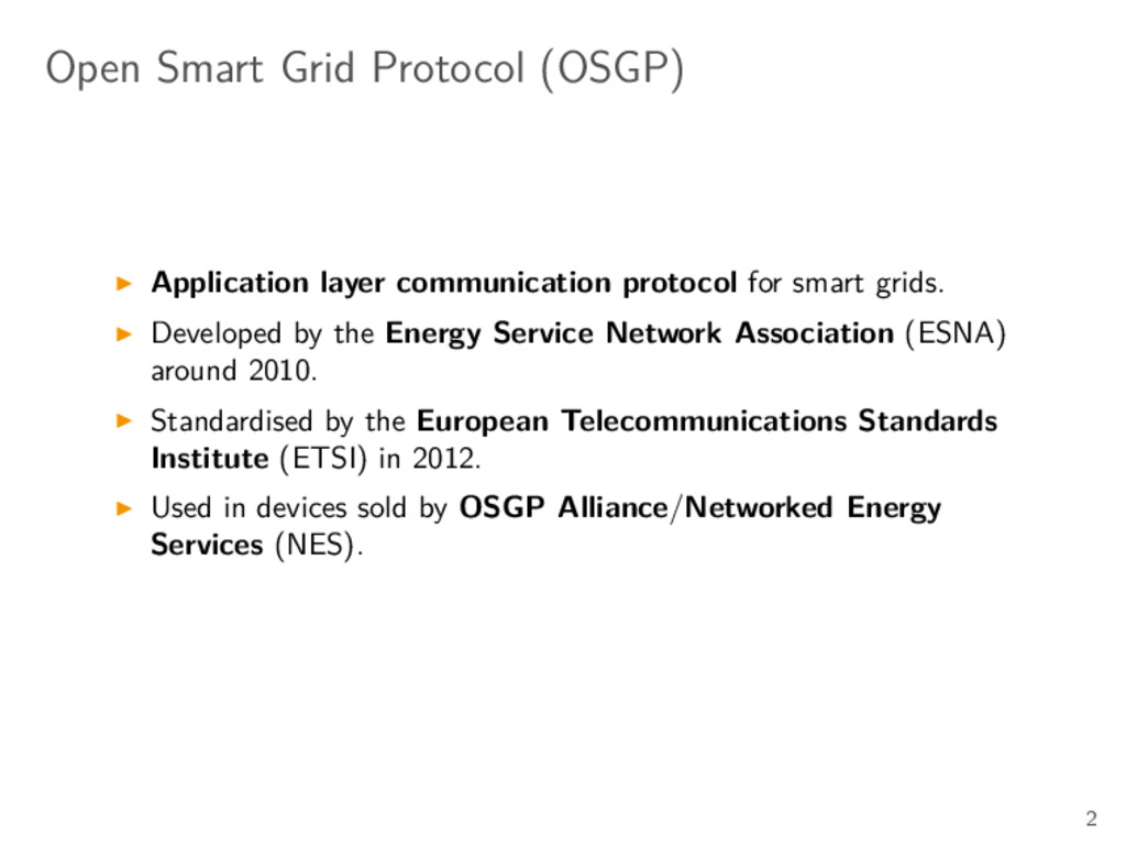Open Smart Grid Protocol (OSGP) Application lay...