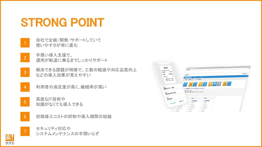STRONG POINT 1 自 社 で 企 画 / 開 発 / サ ポ ー ト し て い ...