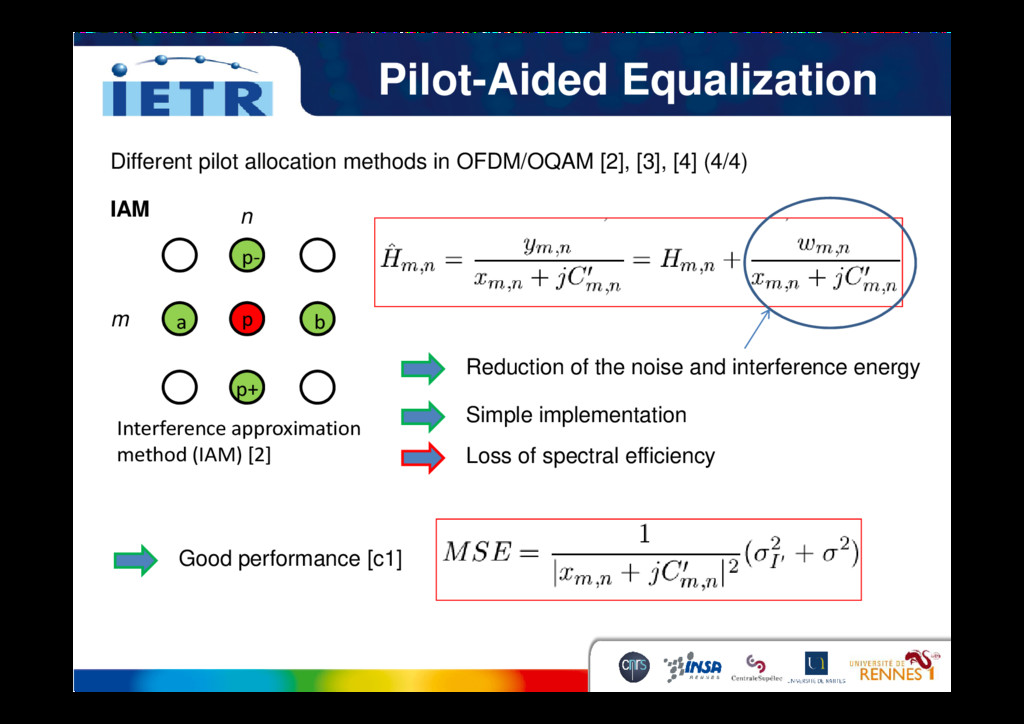 Pilot-Aided Equalization p b a p- Different pil...