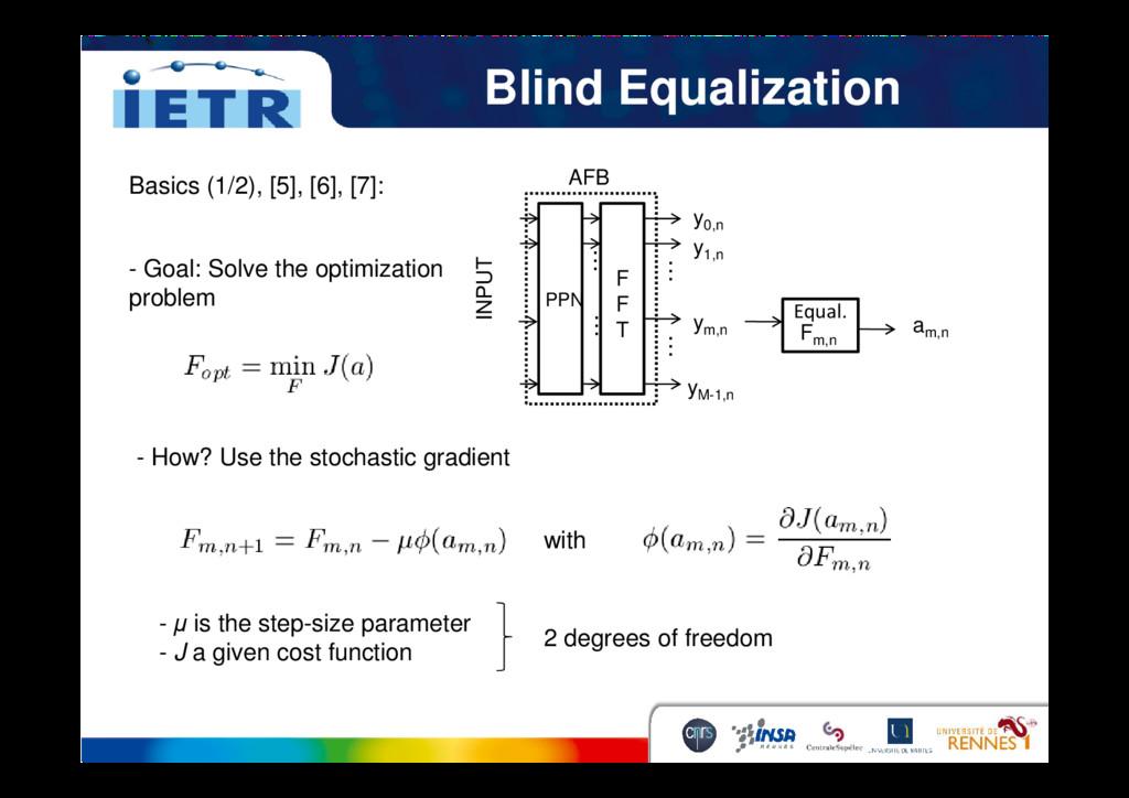 Blind Equalization Basics (1/2), [5], [6], [7]:...