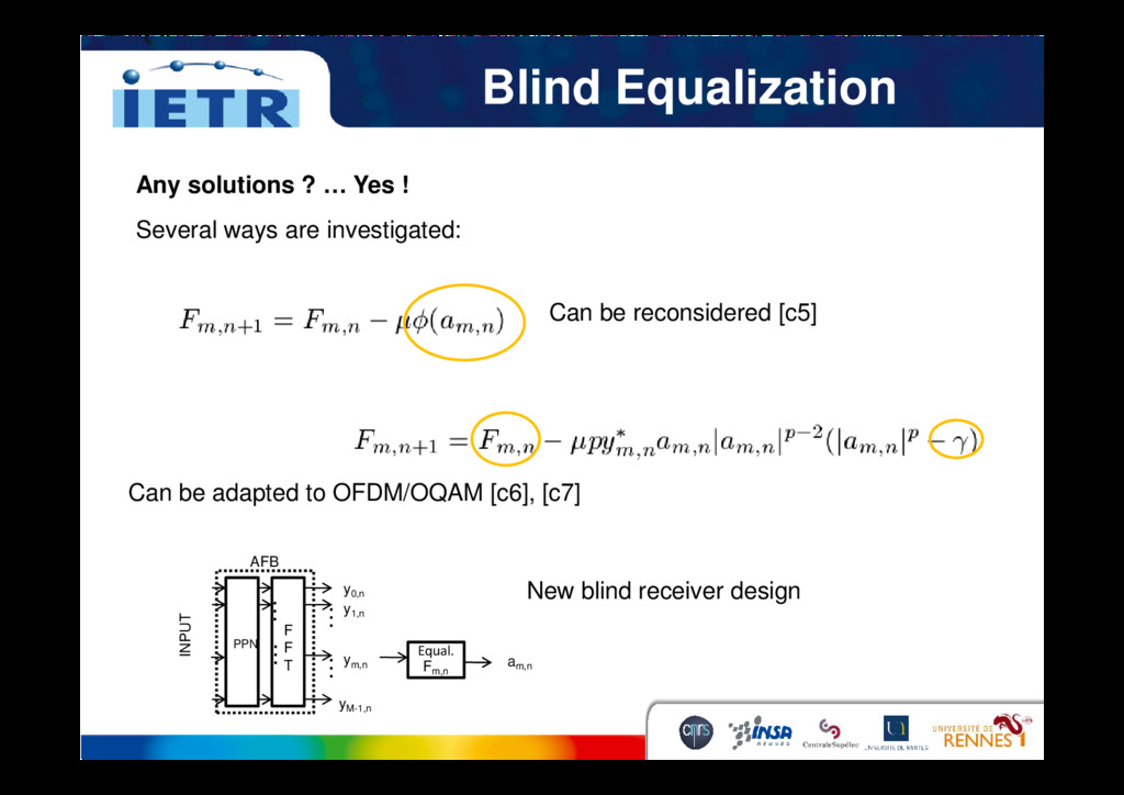Blind Equalization Any solutions ? … Yes ! Seve...