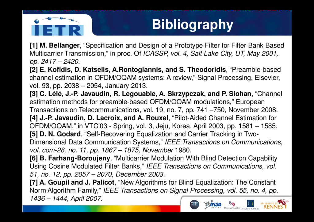 """Bibliography [1] M. Bellanger, """"Specification a..."""