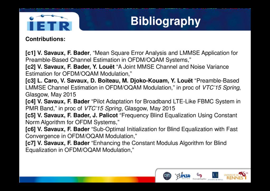 Bibliography Contributions: [c1] V. Savaux, F. ...