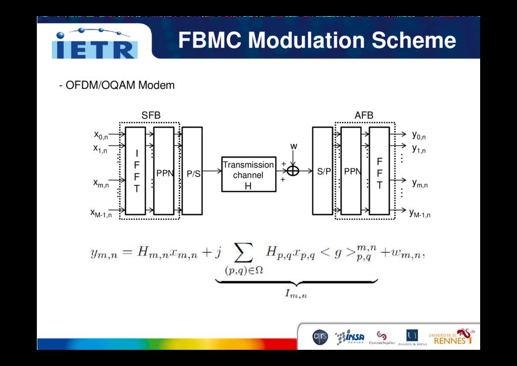FBMC Modulation Scheme x0,n SFB x1,n xm,n Trans...