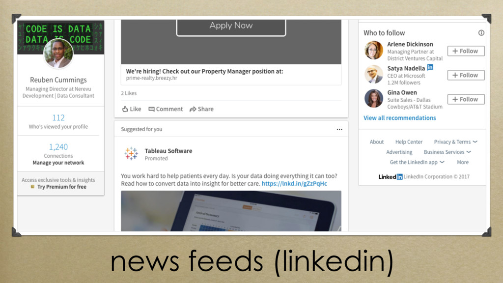 news feeds (linkedin)