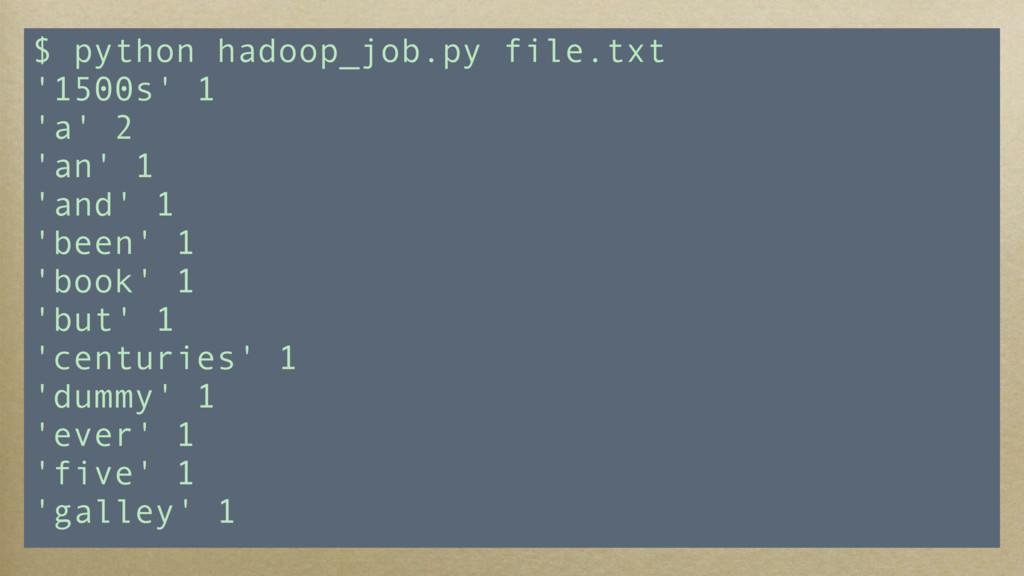 $ python hadoop_job.py file.txt '1500s' 1 'a' 2...